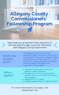 Allegany County Commissioners' Fellowship Program Flier