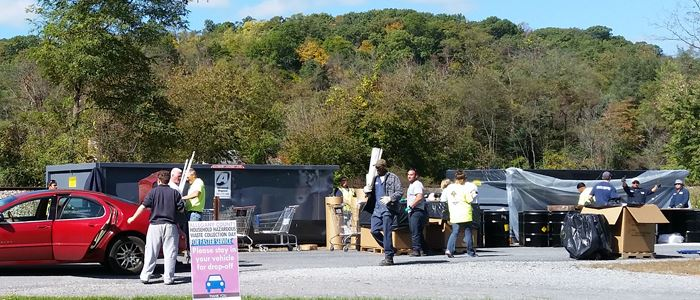 A group of people working at the 2015 Household Hazardous Waste Recycling Event.