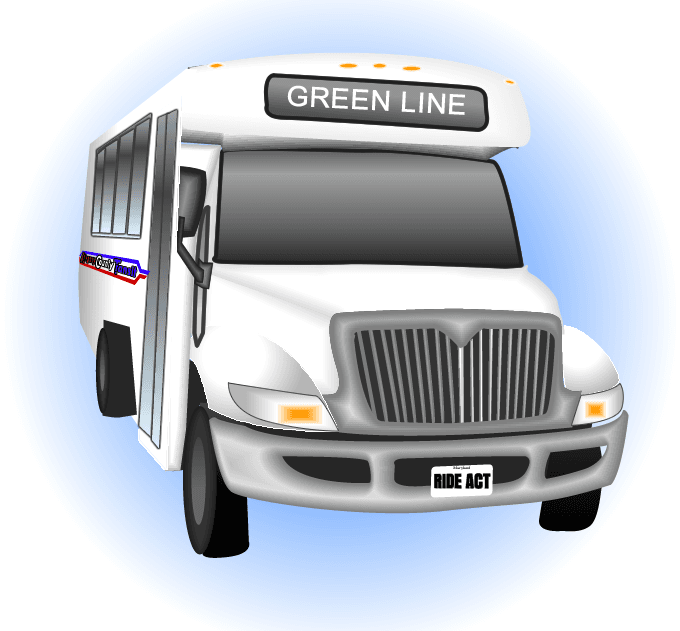 "Clip Art of an Allegany County Transit bus with the words, ""Green Line"" on it."